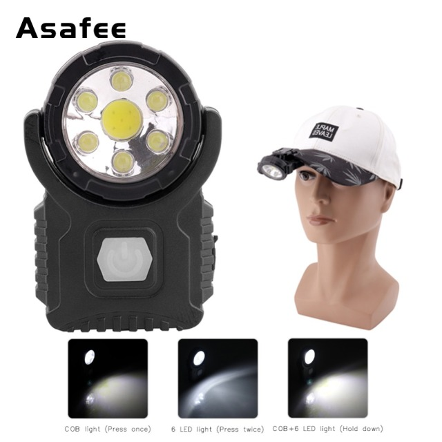 3d09ea93552 7 LED Cap Light Headlight Clip-On Cap HeadLamp 3-Mode Magnetic LED Work