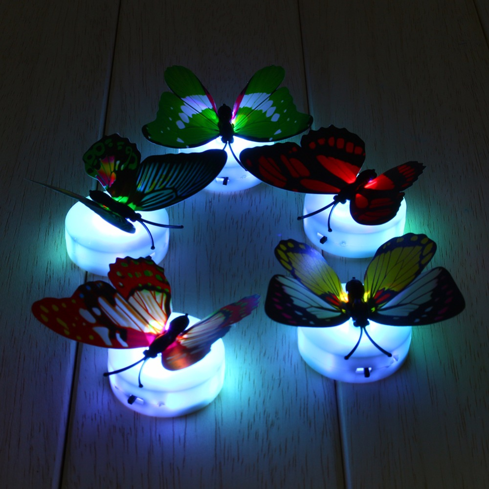 Butterfly LED Night Light Lamp Colorful Changing Home Table Lamp Room Desk Wall Decoration luminaria