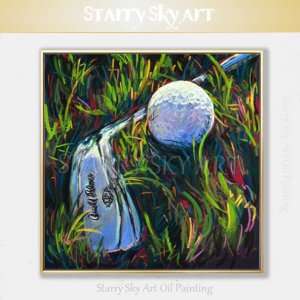 Professional Artist Hand-painted High Quality Abstract Golf Oil Painting on Canvas Golf Clubs and Golf Oil Painting for Wall Art