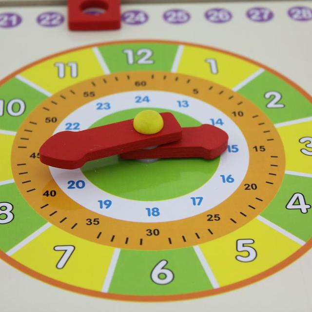 Calendar Clock Puzzle Hanging Wooden Puzzle Board Clock Calendar Board Early Childhood Education Parent-Child Toy