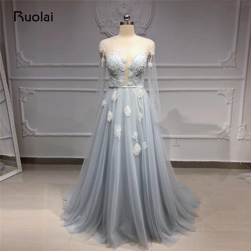 Robe de soirée élégante manches longues a-ligne Tulle Applique perlée robe de soirée formelle avec fente transparent dos robe de bal 2019 SN18