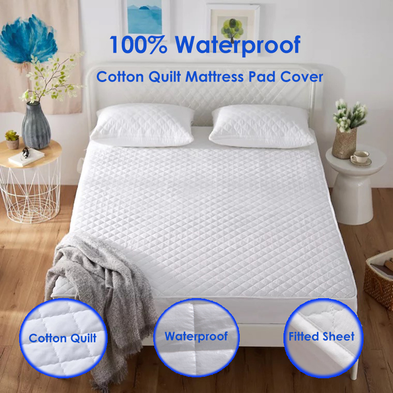 IRoyal All Size Cotton Mattress Pad Cover Hypoallergenic Microfiber Fill Mattress Cover Fitted Waterproof Matress Protector