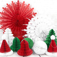 Set Of 12 Christmas Decorations With Tree Snowflake Fan Bell  Ornaments For Home Decoration