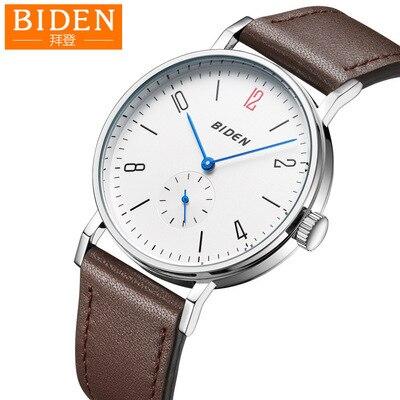 Hommes montre Biden marque mens véritable montre-bracelet en cuir noir brun blanc quartz homme montre étanche mâle horloges mouvement Citoyen