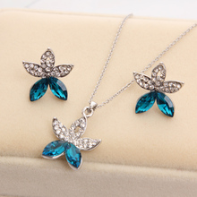 Hesiod  Full crystal rhinestone flower pendant necklace with earrings silver color chain wedding jewelry sets