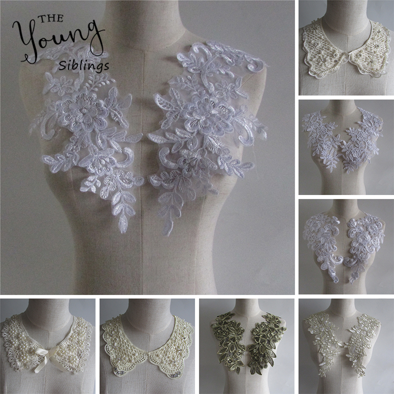 Hot Sale Lace Fabric High Quality DIY Handmade Beaded Lace Collar Neckline Lace Decor For Sewing Supplies Crafts White Collar