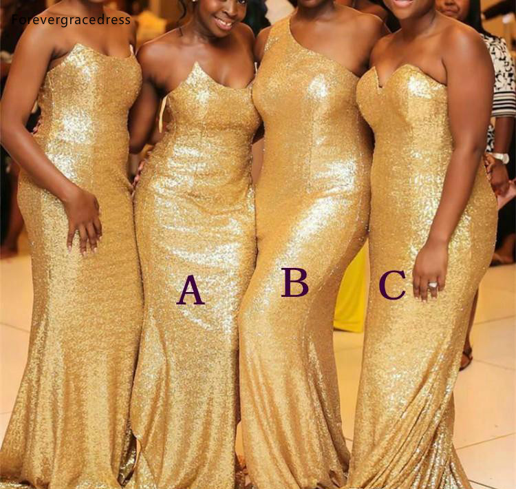 Gold Sequined   Bridesmaid     Dresses   2019 Black Girl Wedding Party Guest Maid of Honor Gowns Plus Size Custom Made