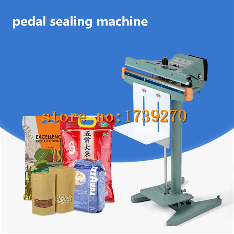 2018 pedal sealing machine Plastic bag aluminum foil film food kraft paper bag heat sealing sealing machine plastic film sealing strong sealing seam machine vertical sealing date printing seal belt 0805005l