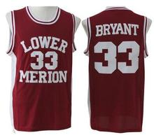 Kobe Bryant 33 Lower Merion High School Basketball Jersey Stitched  Throwback Basketball Jersey White Red S 9a66d7718