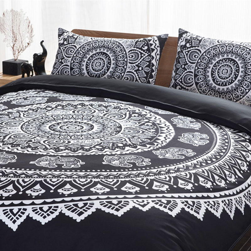 FLC 3 Pcs Bohemian Style Elephant Print Bedding Set Pillowcase Duvet Cover Set Queen Size Home Textile 25FLC 3 Pcs Bohemian Style Elephant Print Bedding Set Pillowcase Duvet Cover Set Queen Size Home Textile 25