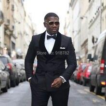 Yeni Marka Smokin Takım Elbise 2018 Custom Made Siyah Kadife Şal Yaka Terno Slim Fit Kruvaze Groomsmen Erkekler Düğün takım elbise