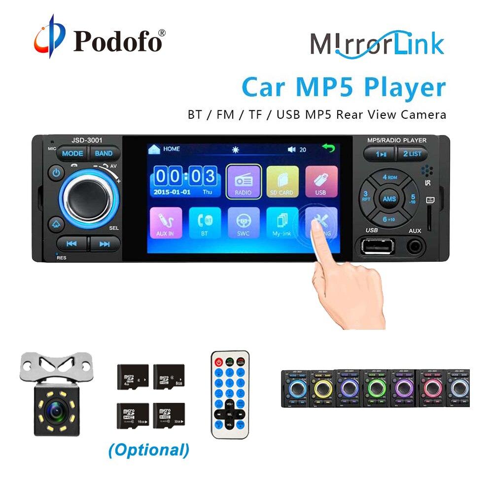 ᗖPodofo Car Radio 1 din jsd-3001 4 inch Touch Screen Auto