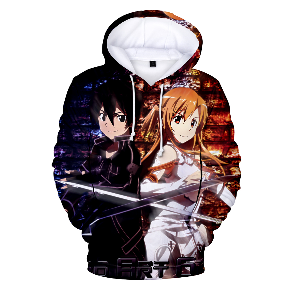 new concept af4c0 45a19 US $10.88 32% OFF|2019 New 3D Hoodies Anime Sword Art Online 3D Print  Hoodie Sweatshirt Men Women SAO Gamer tracksuit Harajuku Pullover Jacket-in  ...