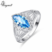 lingmei New Arrival Attractive Marquise Cut Blue & Green Silver Color Ring Size 6 7 8 9 Perfect Enagement Women Wedding Jewelry