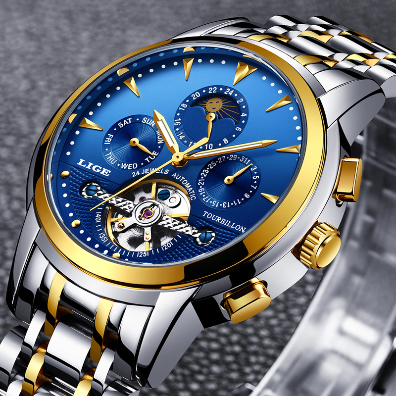 Relogio LIGE Men Watch Self Wind Tourbillon Mechanical Water Resistant Automatic Skeleton Business Wristatch Mens Relojes