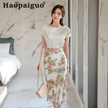 Big Size Casual Streetwear 2 Pieces Set Short Sleeve Blouse and Print Floral Wrap Skirt for Women Two Pieces Set Elegant Suit stylish short sleeve pink knitwear and floral skirt women s suit