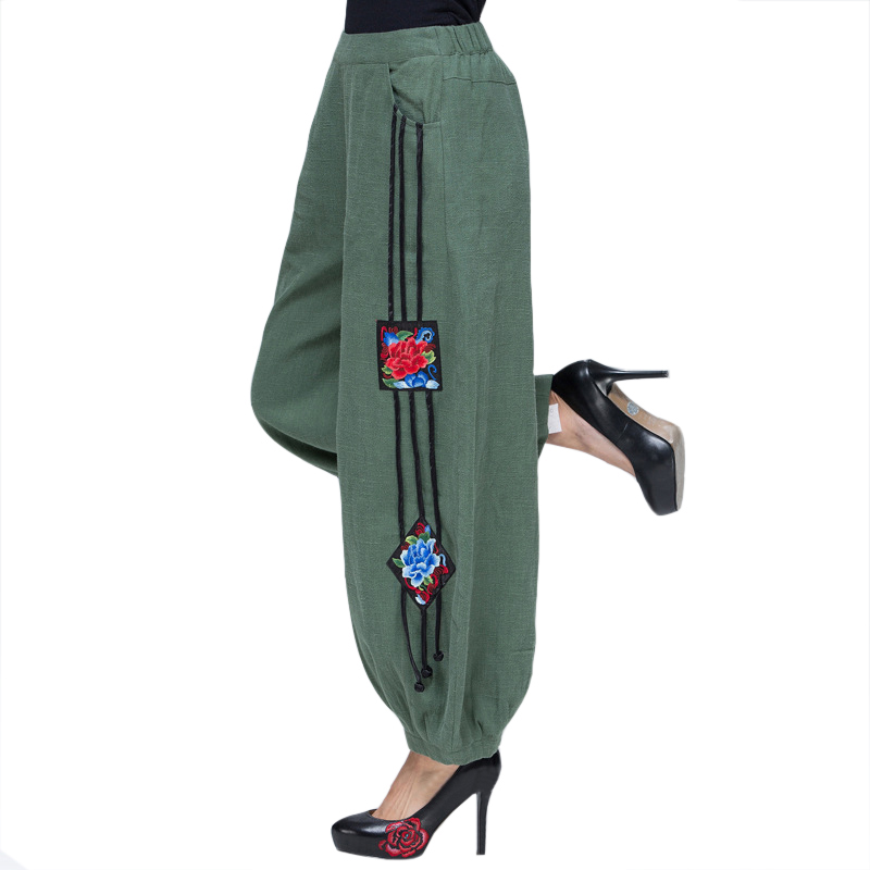 Army Green Floral Women Chinese Classic Trousers Spring Autumn Elastic Waist   Pants   Embroidery   Wide     Leg     Pant   L-XXL