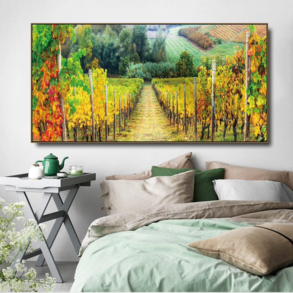 Vineyard Manor Fields Canvas Painting & Calligraphy Poster Print Living Room House Wall Decor Art Home Decoration Picture