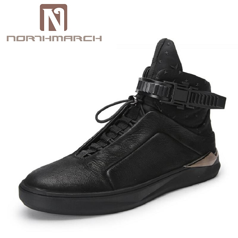 NORTHMARCH New Fashion Brand High Top Shoes Men Personality Height Increasing Men's Casual Shoes Male Black Mannen Schoenen mycolen new 2017 men shoes casual breathable fashion leather shoes high top comfortable winter trainers shoes schoenen mannen