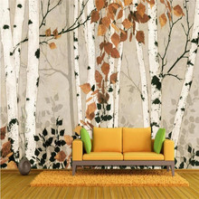 Birch forest HD background wall painting custom high-end mural factory wholesale wallpaper photo