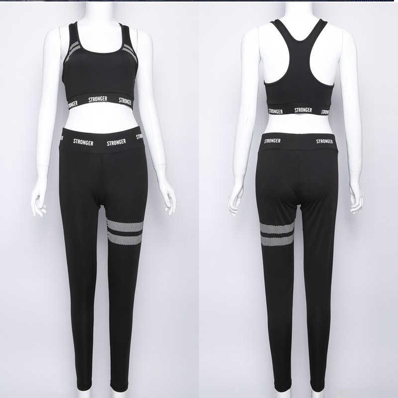 Sexy 2 TWO PIECE SET Crop Top Vest Fitness Women Tracksuit Sportswear Work Out Sweat Suits Leggings Running Slim Ensemble Femme