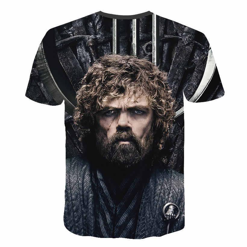 Футболка «Игра престолов» футболка со Старком Новинка 2019 года, футболка для мамы «Ночной король и дракон» Повседневная забавная футболка с 3d принтом