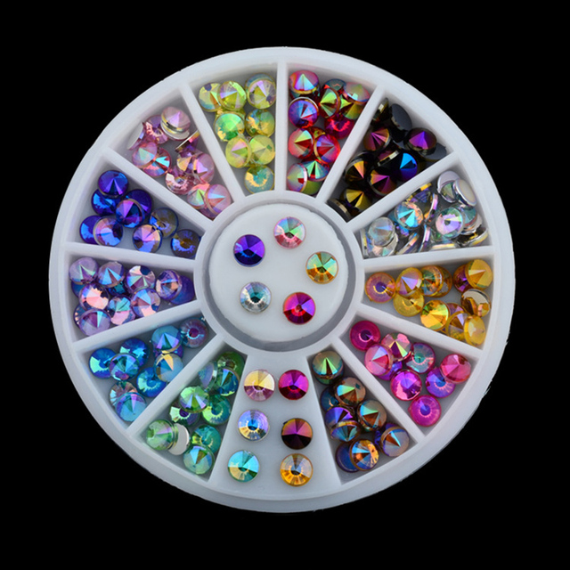 Free Shipping 96 pcs 12 Color 3D Nail Art Tips Gems Crystal Nail Glitter Rhinestone DIY Nail Decoration Wheel NA1118