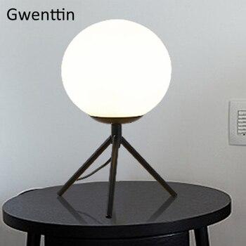 Modern Gold Tripod Table Lamps Led Stand Glass Ball Desk Light for Living Room Bedroom Bedside Lamp Loft Industrial Home Decor