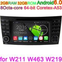 Android 6.0 Octa Lõi Pixels 1024*600 Đứng Đầu Đơn Vị Xe DVD Đối Với Mercedes Benz E G Lớp W209 W211 W219 W463 GPS Đài Phát Thanh Máy Tính 4 Gam