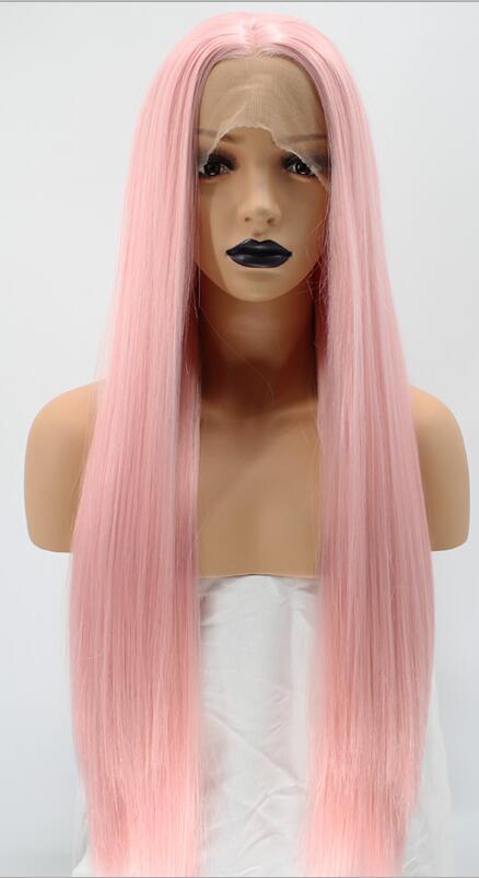 Anogol натуральный волос Высокая температура волокна средней части длинные шелковистые прямые розовый синтетический парик фронта шнурка для белых женщин - Цвет: Розовый