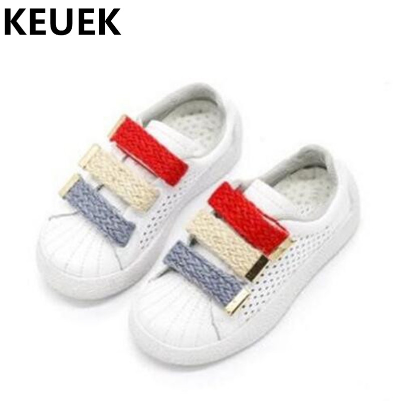 New Spring/Autumn Children Genuine Leather Sports Shoes Girls White Sneakers Boys Breathable Casual Shoes Kids Flats 044  children s shoes girls boys casual sports shoes anti slip breathable kids sneakers spring fashion baby tide children shoes