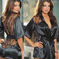 Hot Women Sexy Lingerie Lace Satin Kimono Lace Intimate Sleepwear Robes Sexy Night Gown Women Sexy Erotic Underwear DP964539