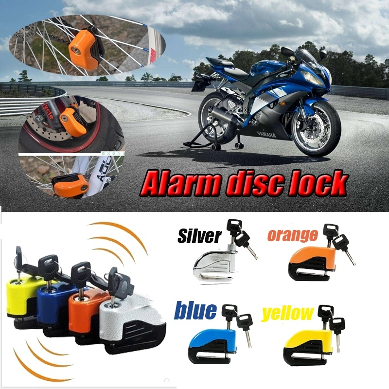 6mm Locking Pin Security Motorcycle Scooter Bike Alarm Lock Sturdy Wheel Disc Brake Lock Bike Safety Alarm With Battery And Keys