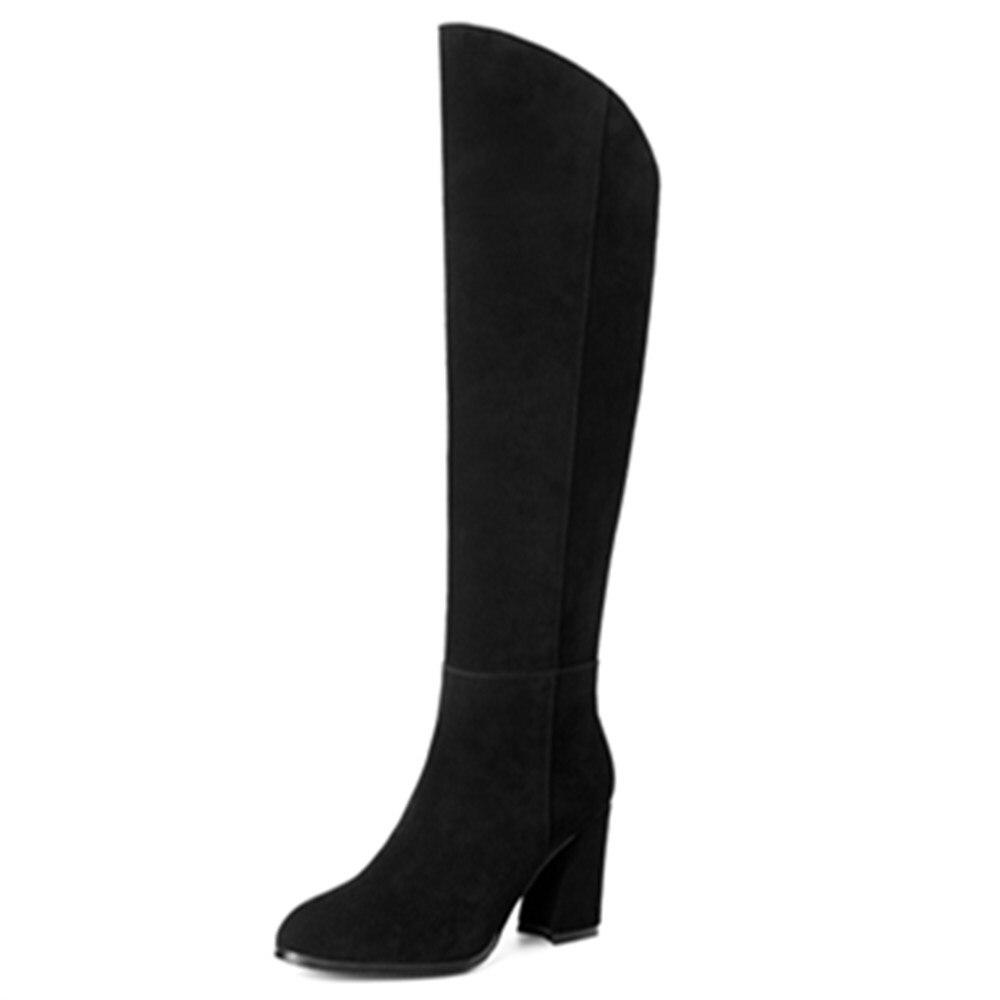 Cuir Fermeture Bout Bottes Haute 40 De Genou Casual 2018 Boot Carré Pointu Taille Noir Talons Femmes 33 En Asumer Chaussures Chaud Mode Éclair Vache aEqzU7nP