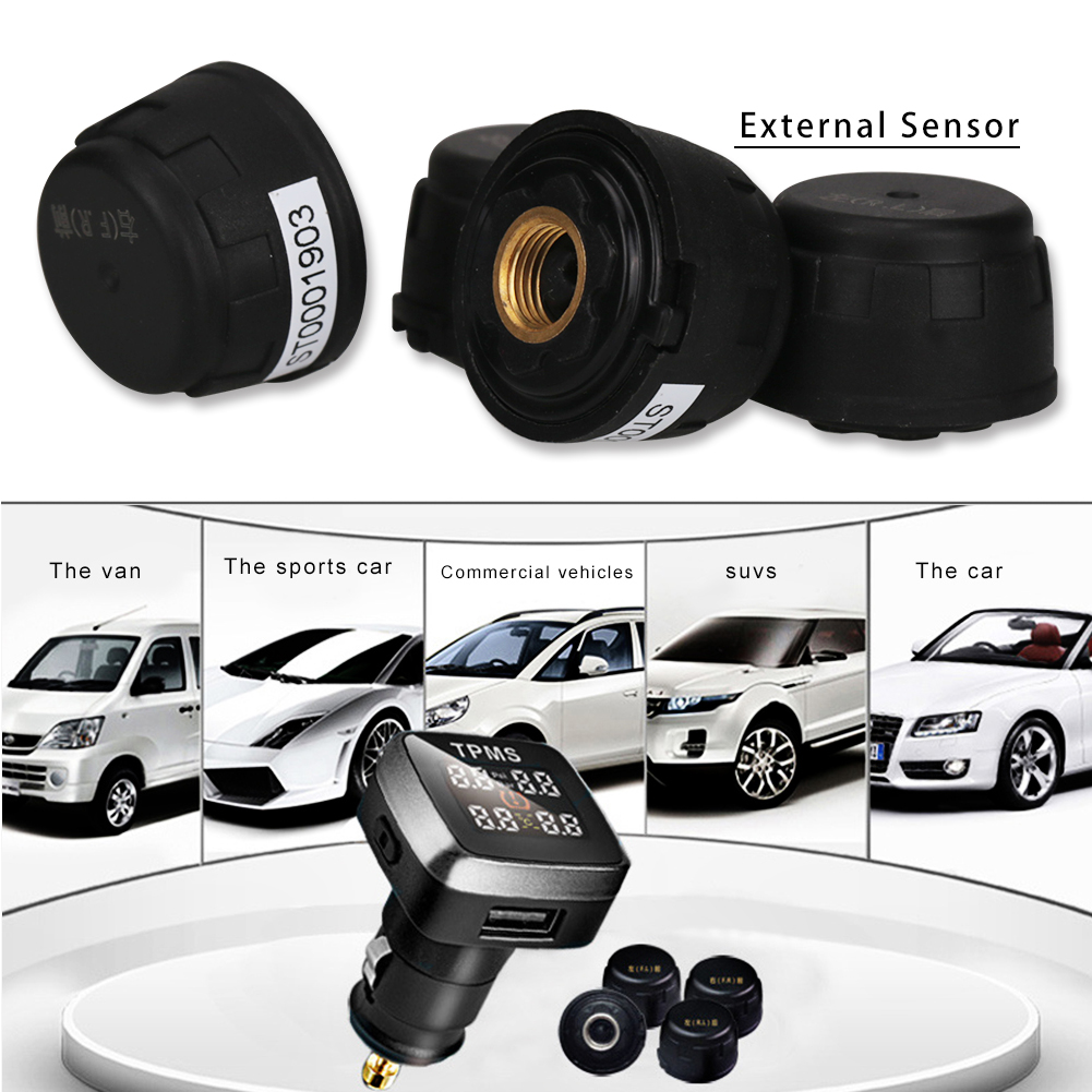 Car TPMS Wireless Tire Pressure Monitoring System With 4 External Sensor Universal Auto Tyre Pressure Monitoring System Wireless auto tire pressure sensor tpms tire pressure valve for vw cc oem 433mhz 3aa907275 retail wholesale free shipping promotion