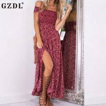 GZDL Sexy Floral Print Slash Neck Summer Women Vintage Dress Off Shoulder Backless Split Boho Beach Long Dresses Vestidos CL3172