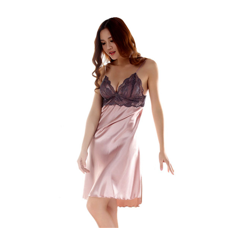 New Women Ladies Imitated Silk Braces Dress Lace Sleepwear Nightgown Babydoll ZU98