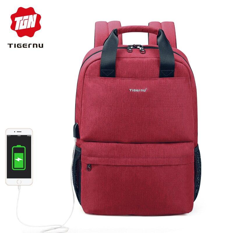 Tigernu marque décontracté mode femmes USB charge école sac à dos féminin 15.6 sacs à dos d'ordinateur portable pour les adolescentes Mochila