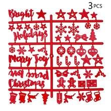 Happy Christmas Войлок вывеска пластиковые буквы для войлока табличка с надписью доска объявлений красная, 3 шт