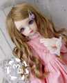 M7-bjd doll wig synthetic mohair cream brown  7-8inch 6-7inch 1/4 1/6 SD MSD YOSD