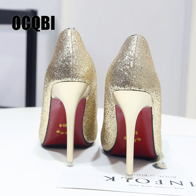 Women's Pumps Women Shoes Thin High Heels Shoes Elegant Red Bottom Pointed Toe Pumps Fashion Office 10cm Zapatillas Mujer Shoes