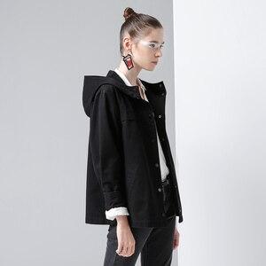Image 4 - Toyouth back 스트라이프 폭격기 자켓 여성용 새 숏 코트 빈티지 패치 워크 후드 아웃터 코트 루스 코튼 chaqueta mujer