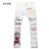 2017 New Men Printing Jeans 3D Printed White Hip Hop Rap Classic Slim Skinny Elasticity Jeans