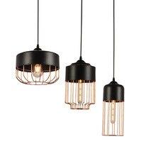 Lámpara colgante de hierro minimalista moderna barra de oro negro lámpara de Moda Nórdica de restaurante lámpara colgante de Metal Vintage decoración del hogar