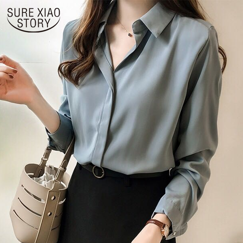 Autumn Women 2019 Fashion Blouses Solid Plus Size Female Clothes Loose Shirt Long Sleeve Blouse Simple OL Feminine Blusa 1181 40