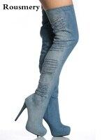 Брендовые модные женские туфли синие летние Джинсы для женщин Сапоги и ботинки для девочек на платформе до бедра джинсовые Сапоги и ботинки