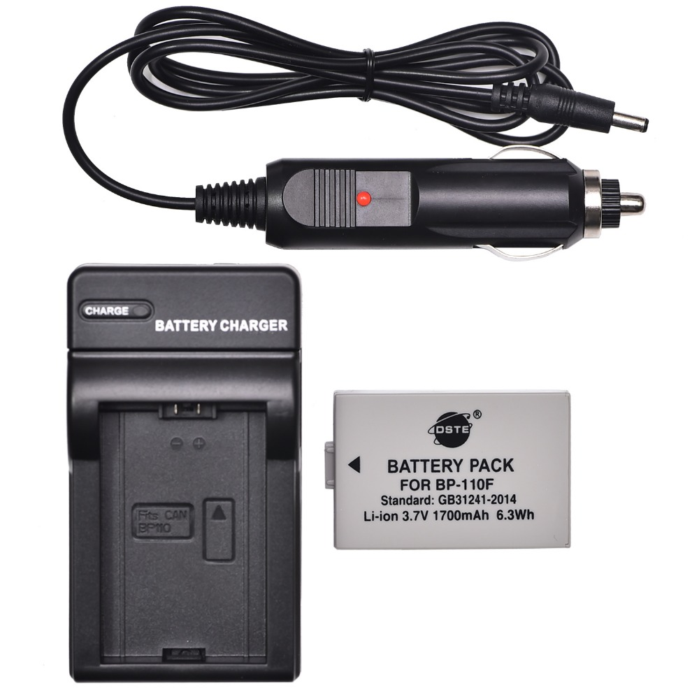 DSTE BP-110F Rechargeable <font><b>Battery</b></font> + Travel and Car Charger for Canon HF R26 R28 R206 <font><b>R20</b></font> R21 R200 XF105 DSLR Camera image