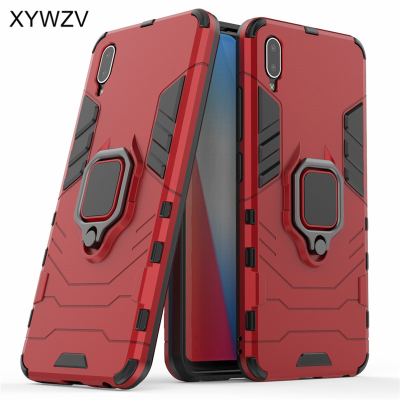 Vivo Y93 Case Shockproof Cover Hard PC Armor Metal Finger Ring Holder Phone Case For Vivo Y93 Protective Back Cover For Vivo Y93-in Fitted Cases from Cellphones & Telecommunications