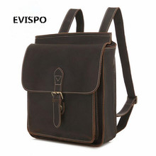 Hot Sales England Style Crazy Horse Leather Backpack New Vintage Fashion School Knapsack Students Laptop Satchel and Backpack