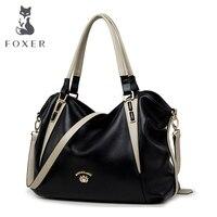Fashion Foxer Brand Luxury Tote Handbags Women Genuine Leather Bag